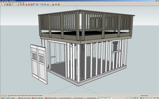 Building a shed under a deck allan lilly made by for Sketchup deck design