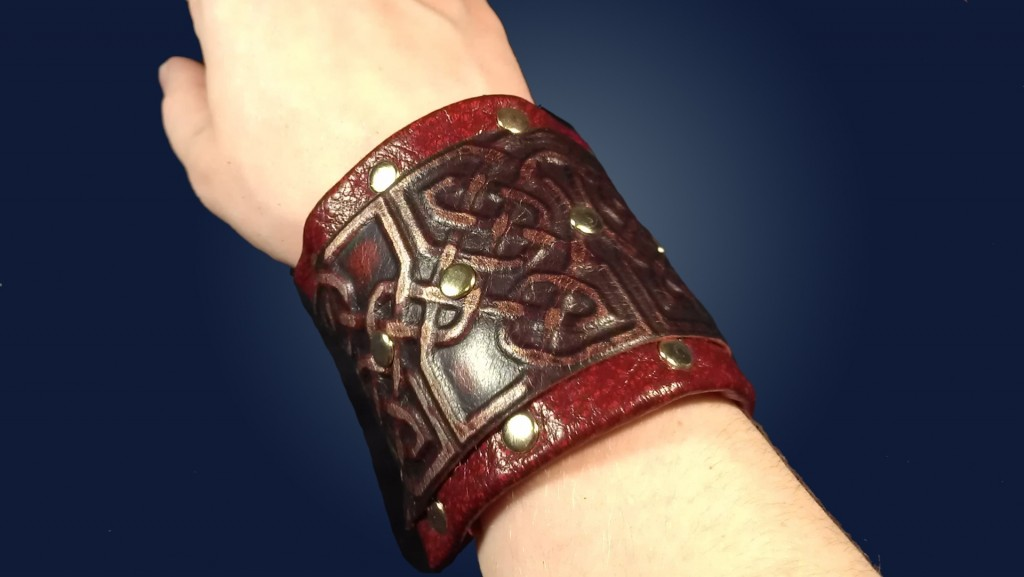 Celtic Red Leather and Stud Cuff by Ragged Edge Leatherworks at CusomMade.com