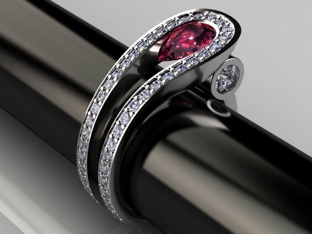 Palladium Ruby and Diamond Two Row Contemporary Ring Design by JewelSmiths at CustomMade.com