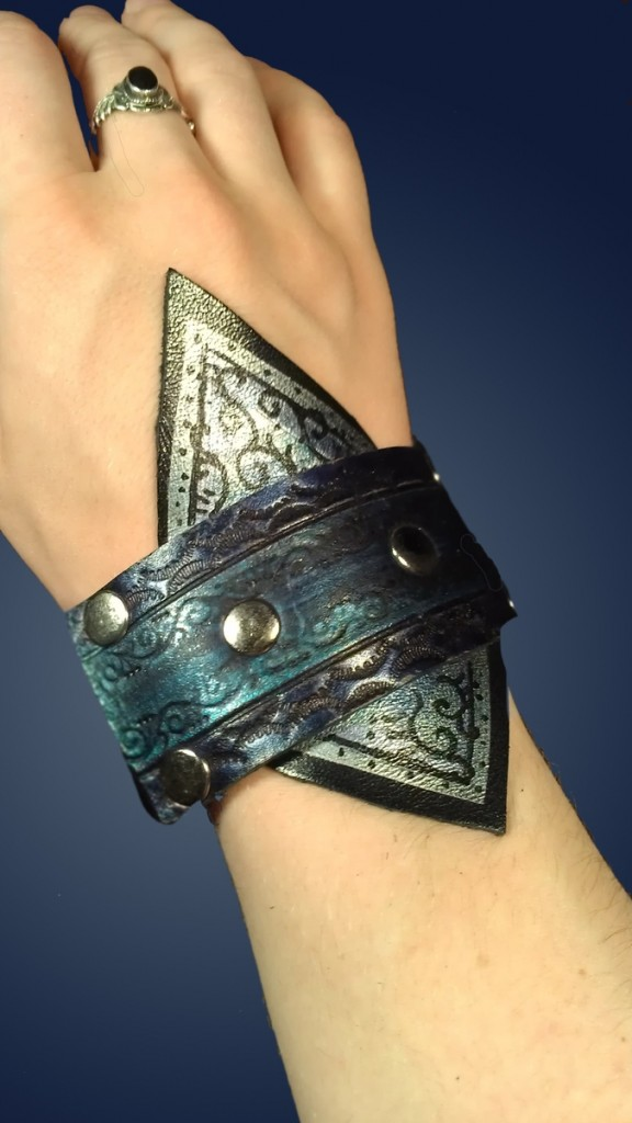 Blue Mermaid Cuff by Ragged Edge Leatherworks at CustomMade.com
