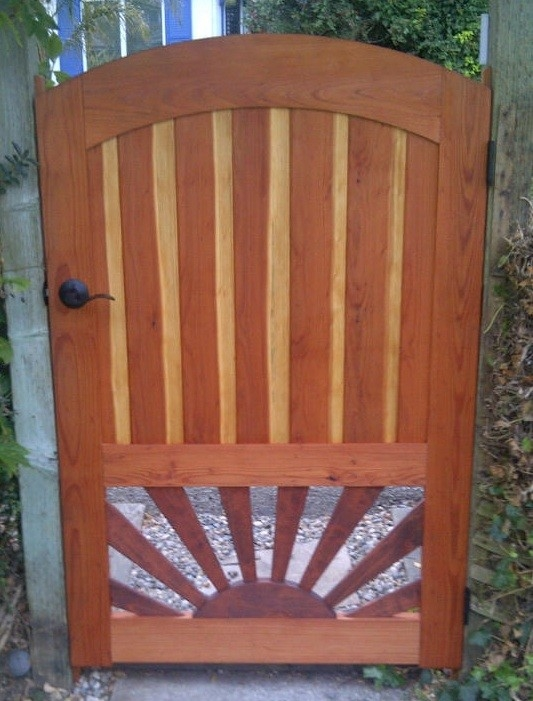 Arched Redwood Gate with Sunburst Pattern by Companion Woods Inlay at CustomMade.com