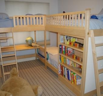 Children's Triple Bunk Bed with Desk and Storage by Codfish Park Design LLC at CustomMade.com