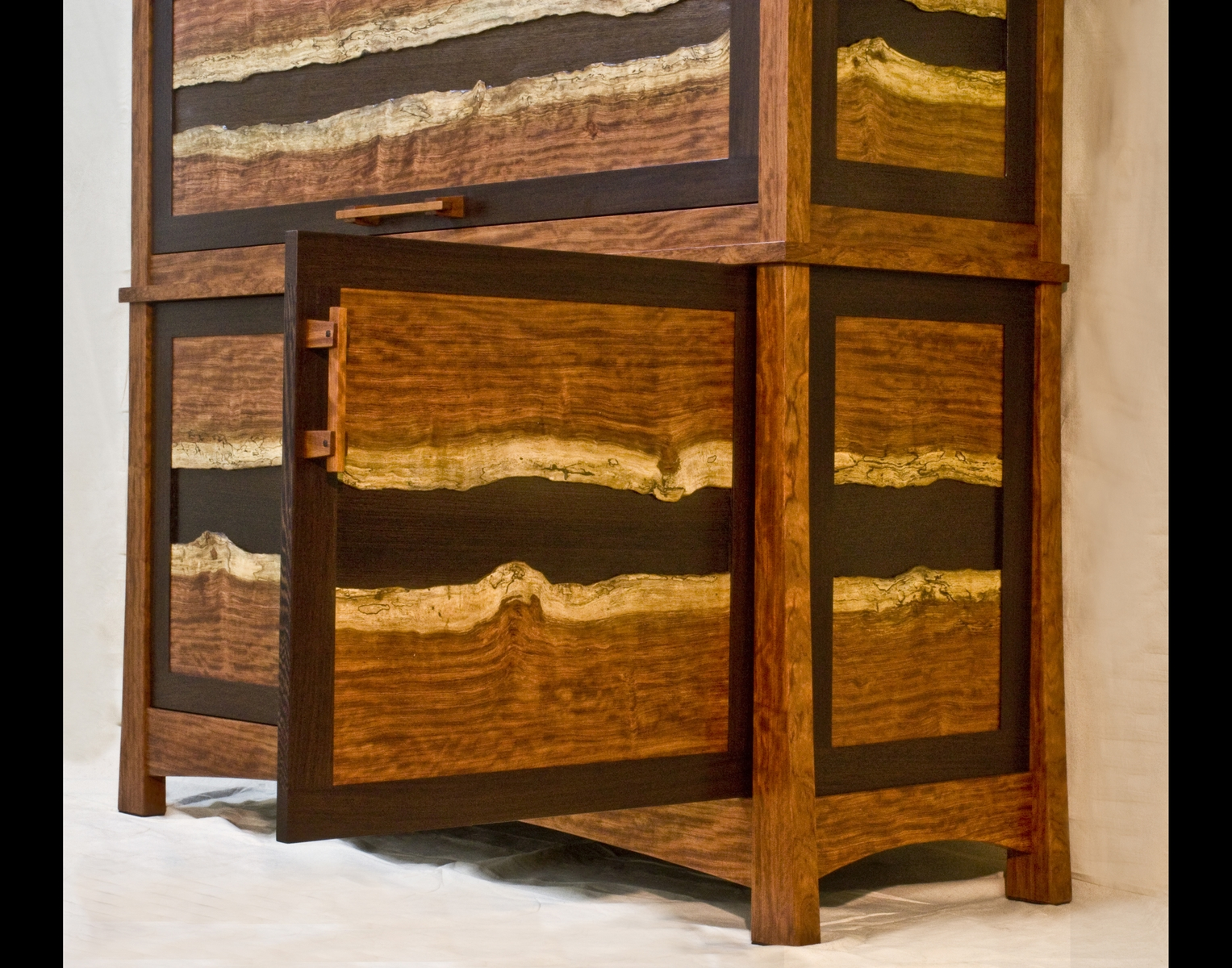 close up bubinga and wenge gun cabinet by corlis woodworks at custommadecom