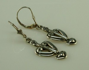 Sterling Silver Handmade Hearts and Arrows Earrings by Denim and Diamonds Jewelry at CustomMade.com