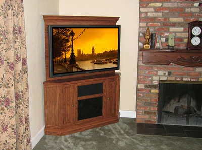 Custom Corner Oak TV Stand Entertainment Center by Diamond Case Designs Inc at CustomMade.com