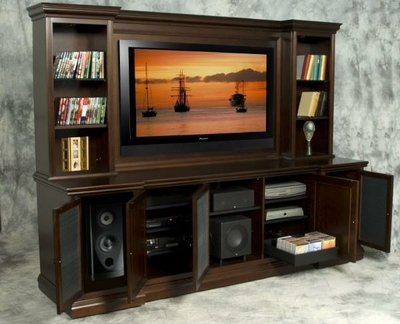 Espresso Birch Recessed Media Center by Diamond Case Designs Inc. at CustomMade.com