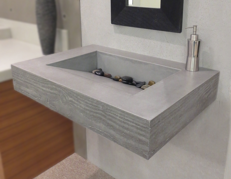 Floating Stone Sink : This sink appears to be floating in the bathroom. Its concrete top has ...