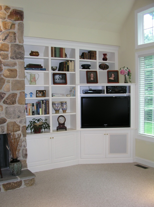 Built-In Corner TV Cabinet by Tony O'Malley Custom Woodworking at CustomMade.com