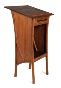 """From """"I do"""" to """"I don't know the meaning"""" this beautiful dictionary stand née wedding podium by Matt Cooper Furniture Design is made from reclaimed teak with inlaid black walnut wedges.  CustomMade.com"""