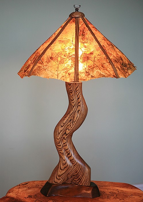 Original Leaf Shade Zebrawood Table Lamp by Wood-Junkie at CustomMade.com