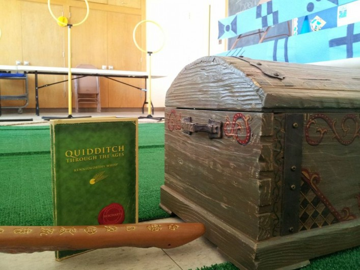 Rachel set up an indoor Quidditch match complete with pitch and the wizarding world reclaimed book Quidditch Through the Ages.