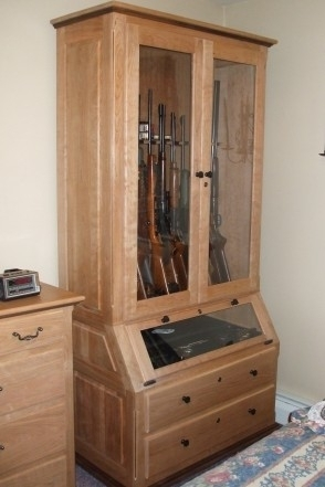 Solid Cherry & Walnut Gun Cabinet by Robinsons Custom Woodworking at CustomMade.com