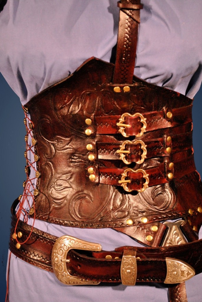 Red Leather Corset Armor by Ragged Edge Leatherworks at CustomMade.com