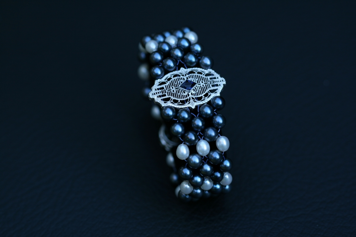 Hand-woven Something Blue Art Deco Sapphire and Pearl Bracelet by Rachels Design at CustomMade.com
