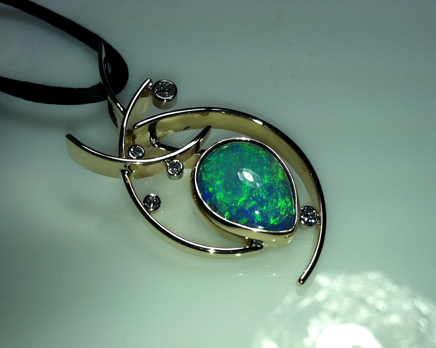Opal and Diamond Pendant by Paul Bensel Designs at CustomMade.com