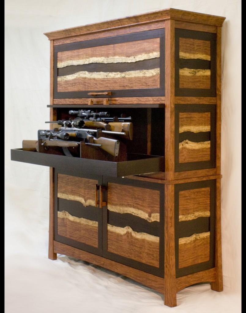 Bubinga & Wenge Gun Cabinet by Corlis Woodworks at CustomMade.com