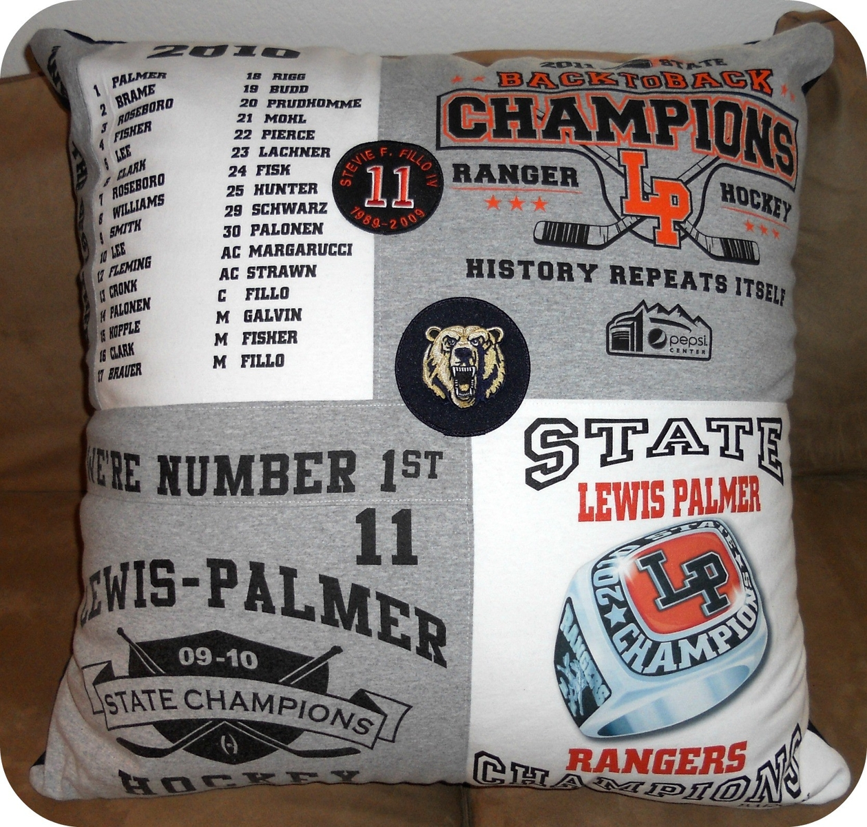 Hockey T-Shirt Pillow by Moss Quilts & Embroidery at CustomMade.com