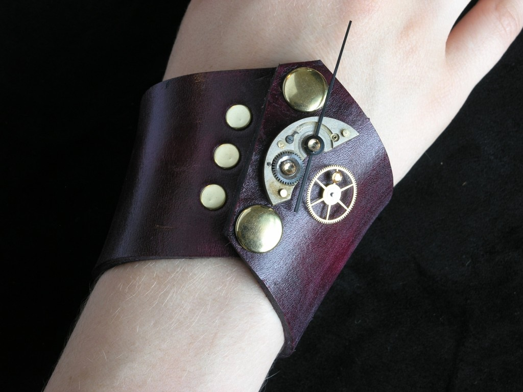Burgundy Simple Steampunk Cuff by Ragged Edge Leatherworks at CustomMade.com