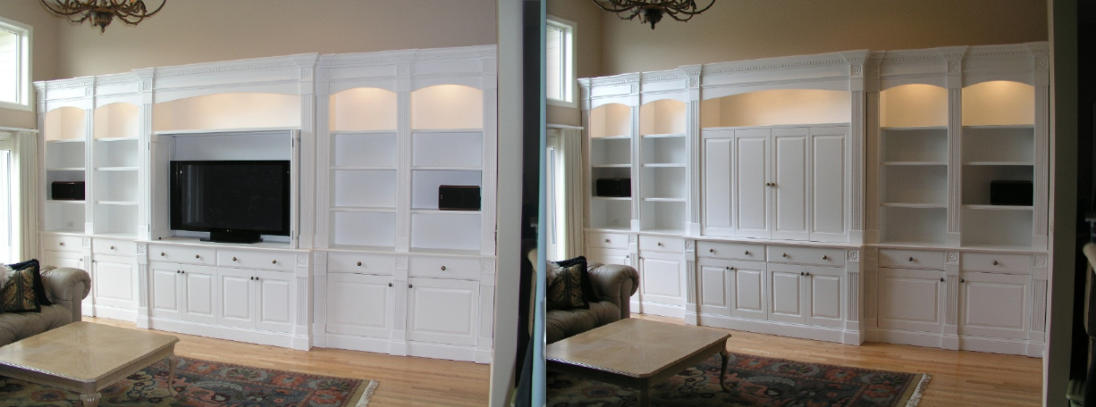 Library and Media Wall by Tony O'Malley Custom Woodworking at CustomMade.com