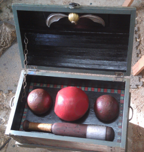 The inside of the Quidditch set is incredibly detailed and includes the Bludgers Quaffle Beater's Bats and Golden Snitch.