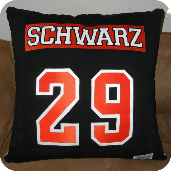 Hockey T-Shirt Pillow Reverse Side with Name and Jersey Number by Moss Quilts & Embroidery at CustomMade.com