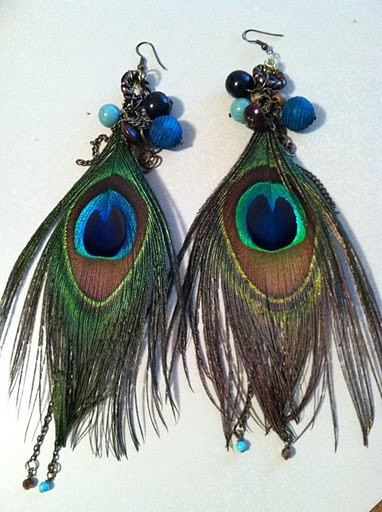 Peacock Feather Earrings Wire Wrapped with Beads by Dossey Designs Daring Unique Jewelry at CustomMade.com