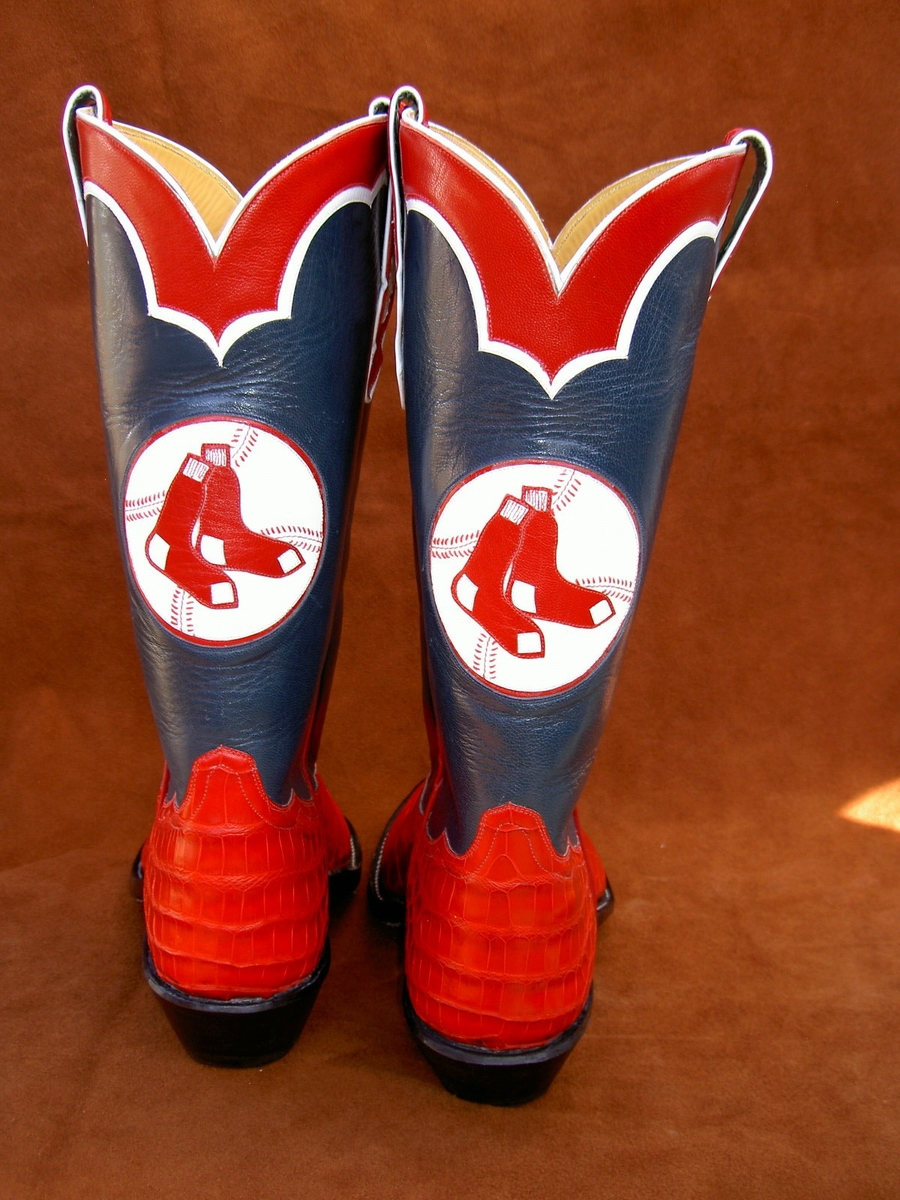 Bosten Red Sox Boots with Logos from the 60s by Ghost Rider Boots at CustomMade.com