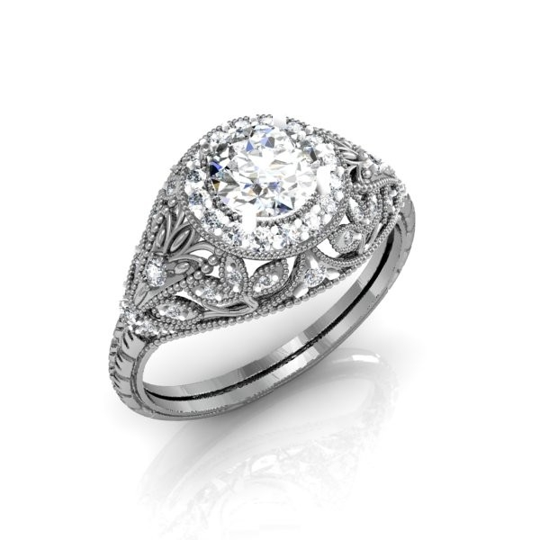 Custom Vintage Art Deco-Style Halo Diamond Ring by Diamond Zone at CustomMade.com
