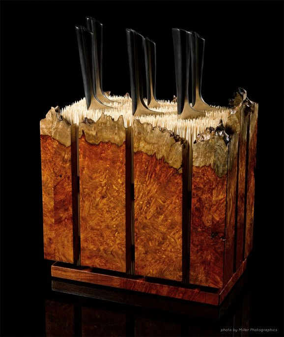 Amboyna Burl Knife Block by Where Wood Meets Steel at CustomMade.com