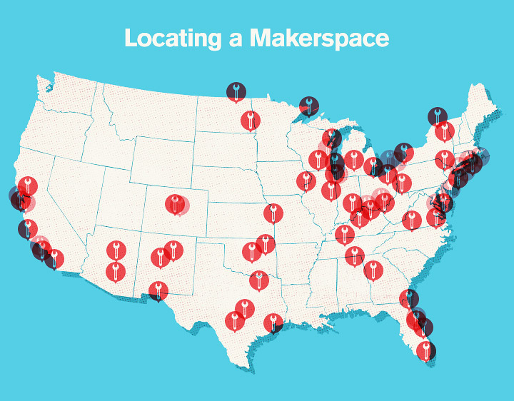 Makerspaces - Locating Makerspaces across the US. A Map of Makerspaces.
