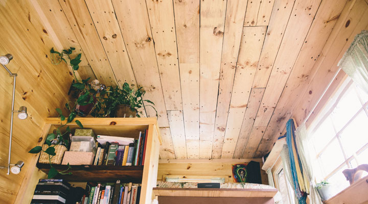Tiny House Living - One Couple's Journey - Reclaimed Wood Ceiling