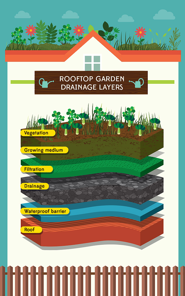 Raise the roof how to plant a rooftop garden gardening for Garden drainage system