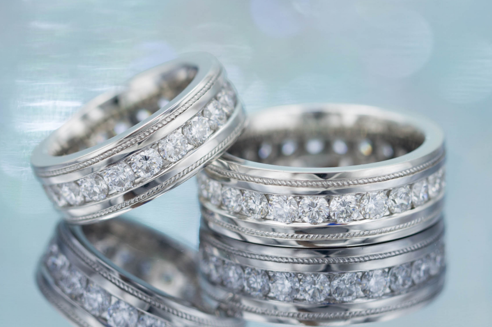 Platinum wedding band set with diamonds
