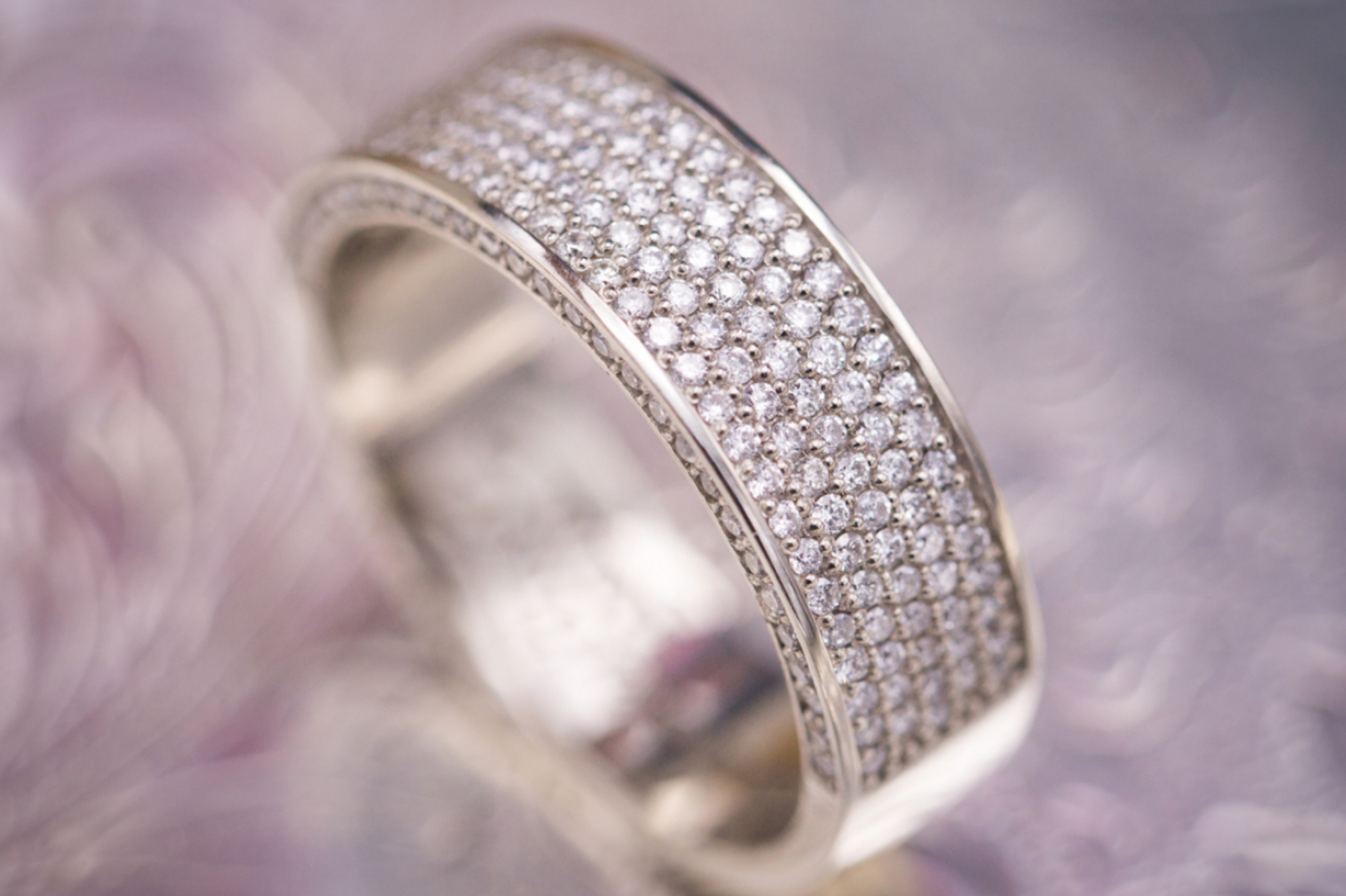 Micropave diamond engagement ring for a man