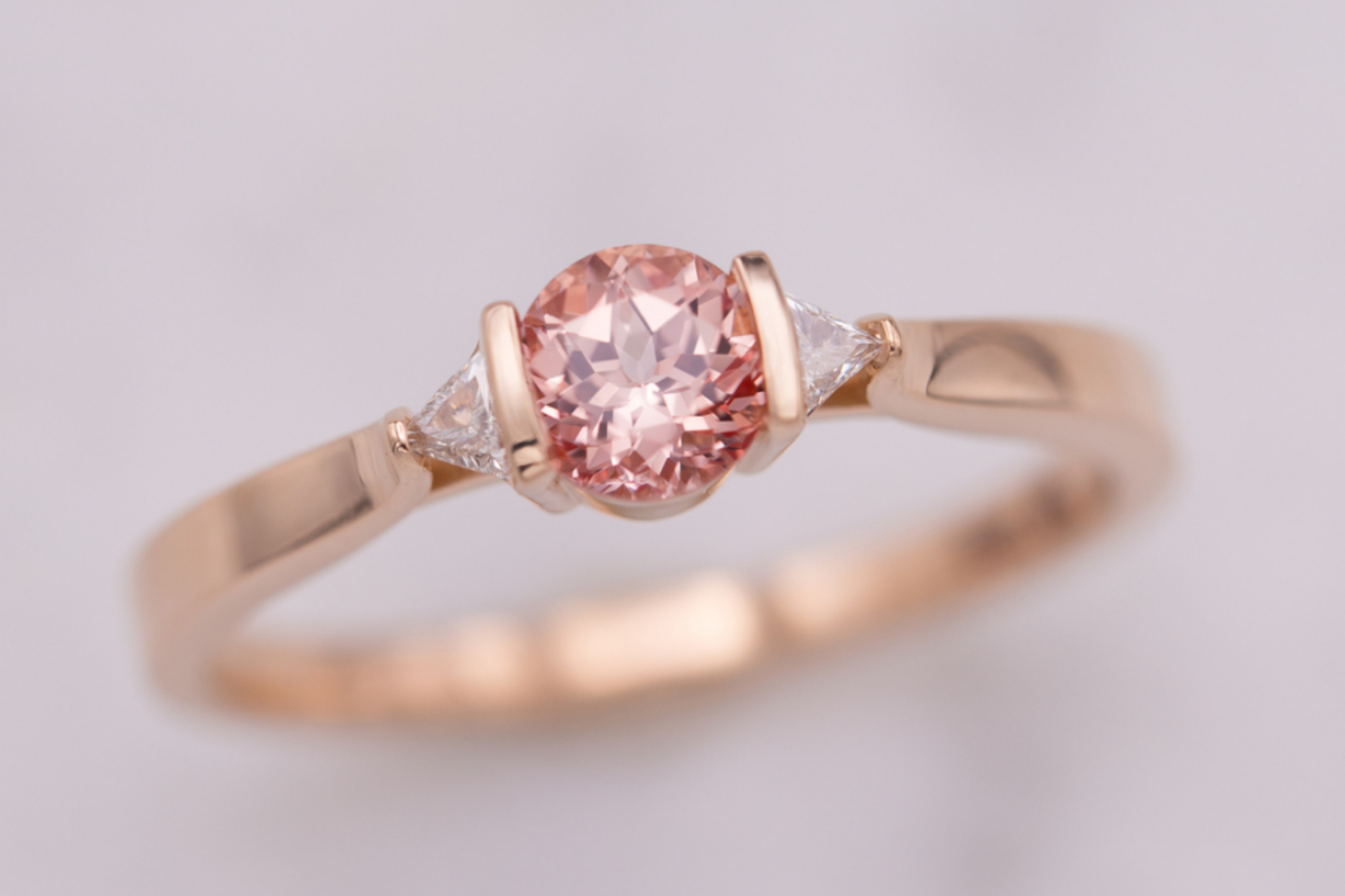 Modern champagne sapphire engagement ring in rose gold